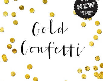 Gold confetti shop cover  Chic Branding Design Customised Shop Banner 9 Etsy Marketing Graphics