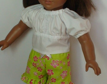 doll blouse and shorts, 18 inch doll shorts and top, white blouse and shorts for AmG,  18 inch doll blouse and shorts, 3 pc doll outfit