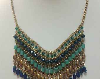 Bronze Chain Teal, Green and Dark Blue Beaded Necklace / Teal, Green and Dark Blue Bib Necklace