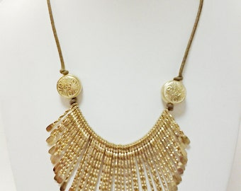 Gold Spike Necklace / Bib Necklace