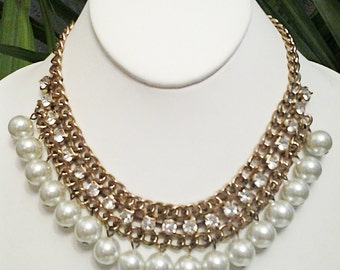 Gold Chain Crystal Clear Rhinestones Pearls Necklace / Gold and Pearls Bib Necklace.