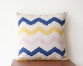 "18""x 18"" Decorative Pillow Cover Chevron Geometric Blue Yellow Cushion Cover Throw Cushion Cover 63"