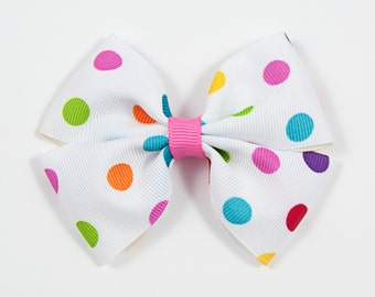 Polka Dot Hair Bow, Spring Hair Bow, Bright Polka Dot Hair Bow, Spring Hair Bow, Double Tuxedo Bow, Summer Hair Bow (Item #10376)