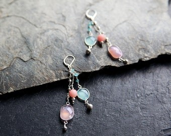 Tranquillity Drop Earrings // Dangle Earrings // Statement Earrings // Rose quartz and chalcedony