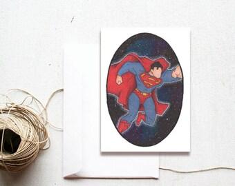 Blank Handmade Greeting Card, Superman Superhero, Comic Book, DC Comics, Unique Galaxy Watercolour Art, Handmade Card