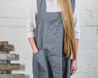 Linen pinafore apron / Square cross linen apron / Japanese style apron / Washed dark grey/graphite long linen apron / No ties apron