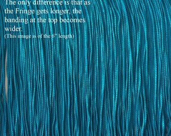 "Turquoise Chainette Fringe Trim ~ 11 Lengths for Dance Performance Costume, Home Decor. Available from 2"" Short to 36"" Long.  Turquoise Blue"