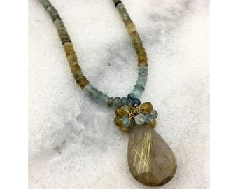 Moss Aquamarine with AAA Gold Rutilated Quartz Faceted Teardrop Pendant AAA Faceted Exotic - 14k Gold Filled Statement Necklace