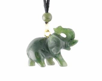 Canadian Nephrite Jade Pendant, Elephant
