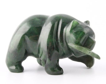 Canadian Nephrite Jade Carving, Bear with Fish 169