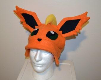 Flareon Pokemon Fleece Hat with Earflaps