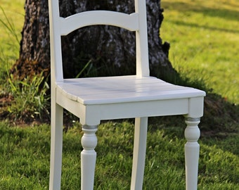 white chair, vintage chair, upcycling chair, wedding chair,  bridal chair, oakwood chair, 20s chair, kitchen chair, dining chair, handmade.