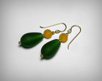 Sea Glass Earrings, Team Colors, Green and Gold Earrings, Green Earrings, Team Colors Jewelry, School Color Jewelry, SeaGlass Earrings, Gold