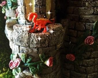 Fairy garden, fairy tale, fairy dragon, micro mini dragon, TINY dragon, orange dragon