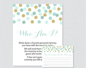 Mint Baby Shower Who Am I Game Printable   Memory Of The Mommy To Be Game