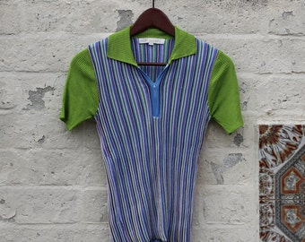 Collard Green Striped Zip Tee