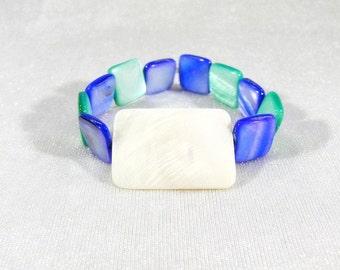 elastic bracelet, mother of pearl bracelet, square, rectangular mother of Pearl, bracelet, green, blue, ivory, sea, shell, beach, gift,