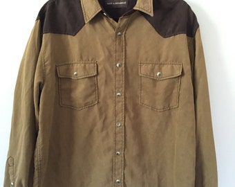 90s Vintage Clothing / Oversized Brown Button Up