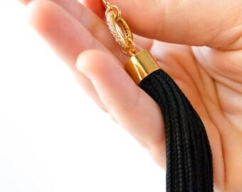 Black Tassel Earrings, Tassel Statement Earrings, Tassel Earrings, Black And Gold Earrings, Long Tassel Earrings, fall fashion, fall jewelry