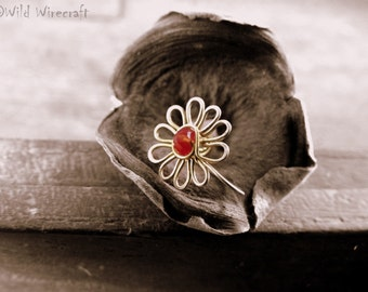 Maroon Flower Faux nose ring/Fake Nose Ring/Wire Wrapped jewelry/Handmade/Brass Nose Ring/Body Jewelry/Free Combined Shipping/Nose Clip on