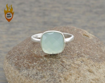Aqua Chalcedony Cushion 10mm Faceted Gemstone 925 Sterling Silver Ring - #1244