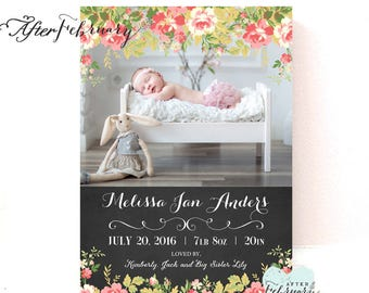 Floral Birth Announcement Baby Girl Birth Photo Announcement Printable File // Printable OR Printed No.135