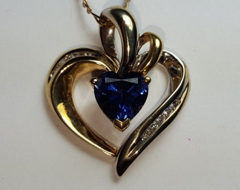 14K Gold Diamond Blue Sapphire Heart Necklace ~ Valentines Day Anniversary Gift ~ September Birthday Birthstone ~ Gifts that Say I Love You