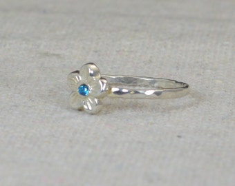 Small Flower Blue Zircon Ring, Silver Blue Zircon Ring, Flower Ring, Forget Me Not, Flower Jewelry, Sterling Flower Ring, floral ring