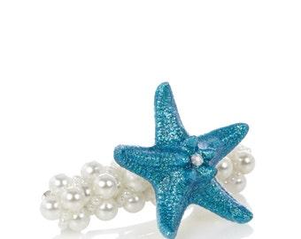 Blue starfish pearl barette for mermaids , weddings hair clip