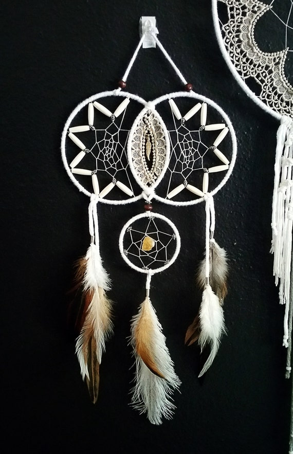 Citrine double dream catcher by aurvgon on etsy for How to make a double ring dreamcatcher