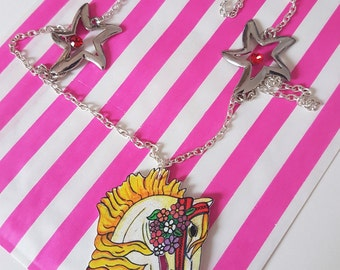 Carousel Horse Necklace Pendant fairground yellow and silver