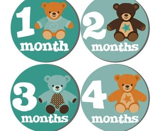 Baby Month to Month Stickers- Milestone Baby Month Stickers- 12 month stickers- Milestone Sticker- Baby Month Stickers- U10