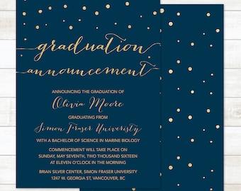 navy gold graduation announcement, printable graduation announcement, university graduation announcement