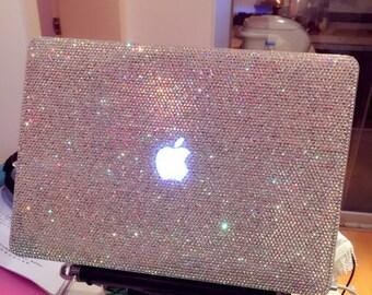Laptop Case Rhinestones Macbook case Handmade Crystal AB Bling Case /holographic/Blue/Silver/glitter/gift/AURORA BOREA/laptop shell