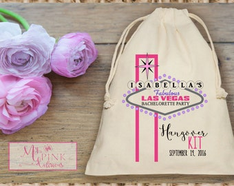 Las Vegas  Pink Hangover Kit  Bachelorette  Muslin  Bag - Custom Mini Favor bag - Bridal shower bag-Recovery kit