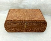 Saddle Brown Faux Leather Decorated Box