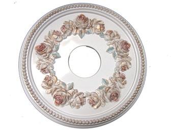 """Shabby Rose 16"""" Diameter Ceiling Medallion for Chandeliers or Fans."""