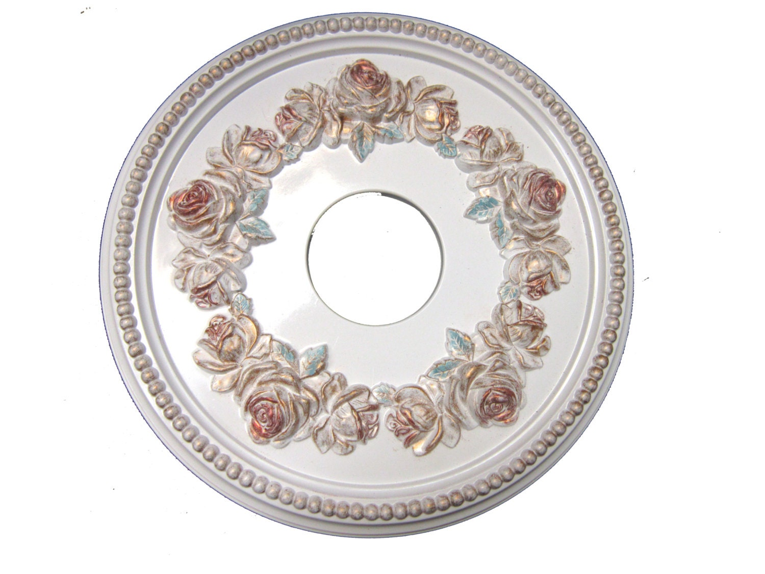 Shabby Rose 16 Diameter Ceiling Medallion For