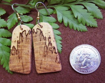 Earrings Spalted Hackberry, Exotic Wood handcrafted by ExoticwoodJewelynd Hypo allergenic Ear wires