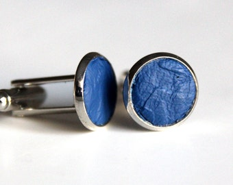 Blue Leather cufflinks | Wedding Cuff links Groom | Gift for men l Groomsmen cufflinks | Christmas gift