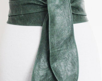 Vintage Green Leather Obi Tulip Tie Belt | Plus Sizes | Real Leather Belt| Corset Belt | Wrap Belt | Obi Sash