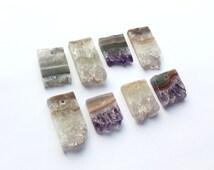 Druzy Slice Pendant One Druzy Bar Pendant Purple Quartz Pendant Drilled Stone Jewelry Supply Natural Stone Drilled Amethyst with Hole Stone