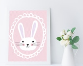 Easter Decoration, Easter Bunny, Easter Printable Art, Nursery Wall Art, Baby Girl Wall Art, Baby Girl Nursery Decor, Girls Room Wall Art