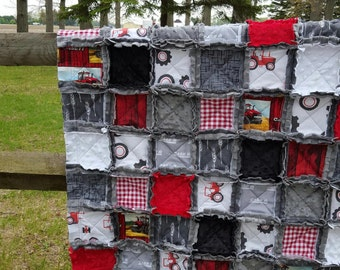 Case IH Inspired Baby Rag Quilt - Case International Harvester Baby Quilt - Exclusively from OCKBaby - Tractor Baby Bedding