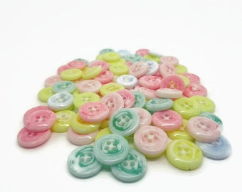 Pastel buttons, 13mm buttons, 4 hole buttons, sewing buttons, sewing supplies, uk button supplies, cardmaking supplies, pretty buttons,