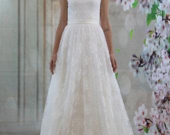 White Aline Illustration Neckline Lace Wedding dress, Lace Open back bridal gown