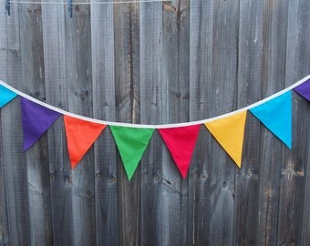 Large Colourful Cotton Bunting. Classroom or children's room decoration