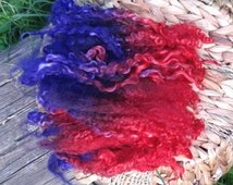 Wensleydale locks mix 1.4oz Ruby to purple, 7-9 inches, for spinning, art yarn, needle felting, 2-d wool painting, weaving, doll hair, ooak