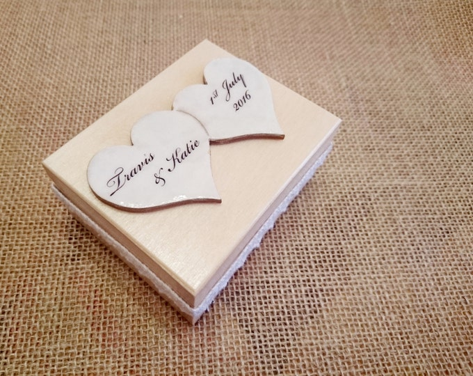 Wedding rings box/engagement ring box, wedding pillow rustic cotton lace wooden box natural delicate
