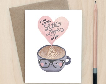 Latte Love - A2 Greeting Card